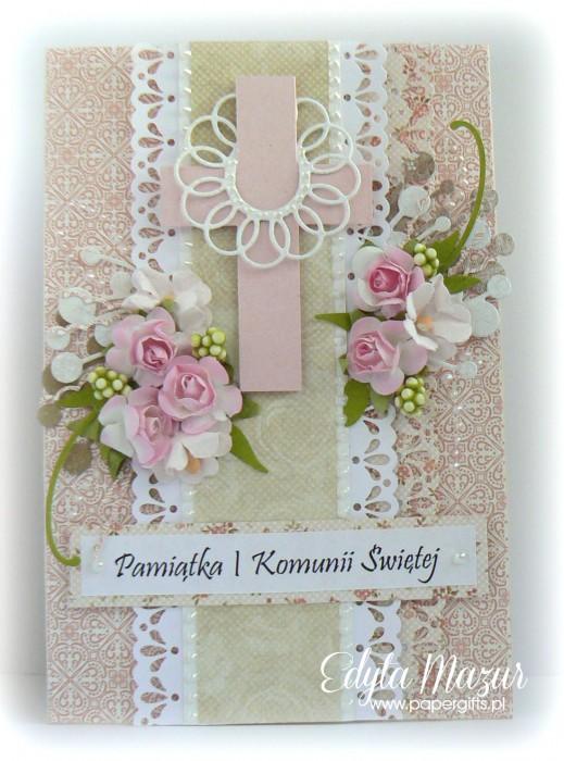 Pastelowa z różowymi różyczkami - Pamiątka Komunii Św. Julki
