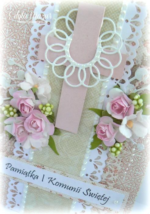 Pastelowa z różowymi różyczkami - Pamiątka Komunii Św. Julki1