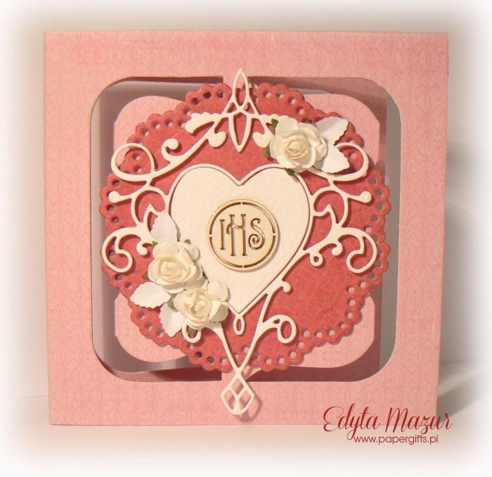 Różowa z sercem i różami - Pamiątka Komunii Św. Julii