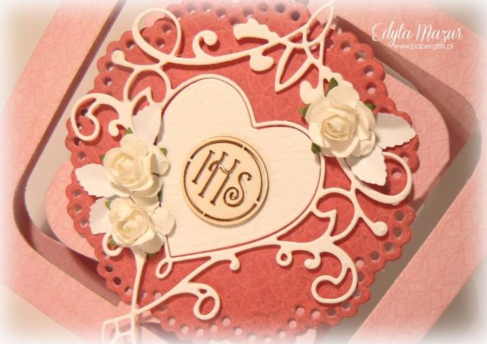 Różowa z sercem i różami - Pamiątka Komunii Św. Julii1