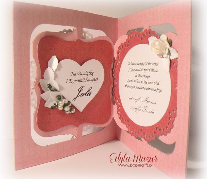Różowa z sercem i różami - Pamiątka Komunii Św. Julii2