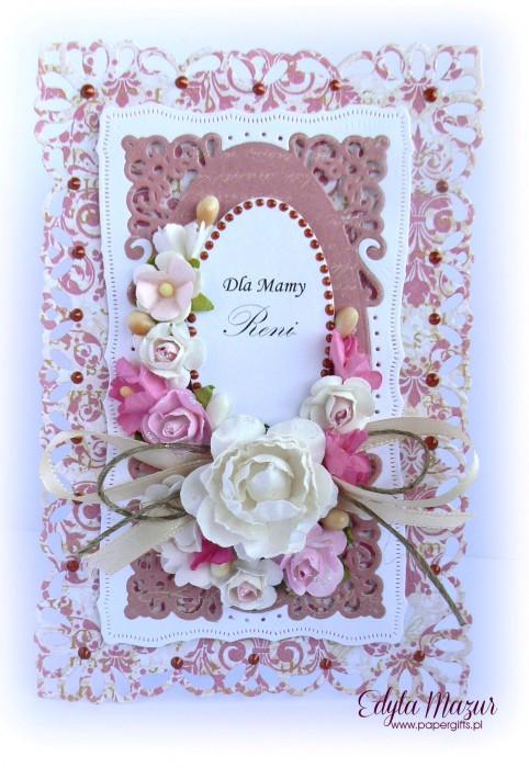 Różowe damaski z  różowymi kwiatami - kartka z okazji Dnia Mamy