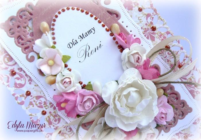 Różowe damaski z  różowymi kwiatami - kartka z okazji Dnia Mamy1