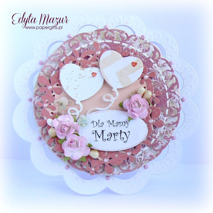 Różowe różyczki z balonikami - kartka z okazji Dnia Mamy