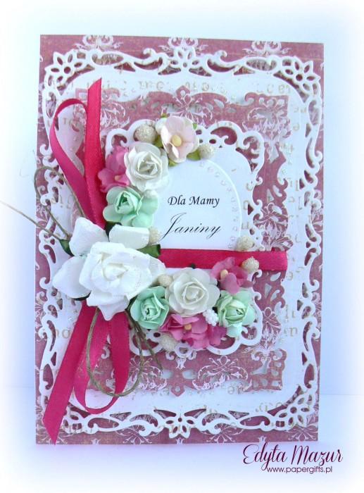 Różowo-biała z zielonym - kartka z okazji Dnia Mamy