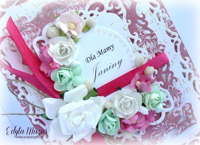 Różowo-biała z zielonym - kartka z okazji Dnia Mamy1