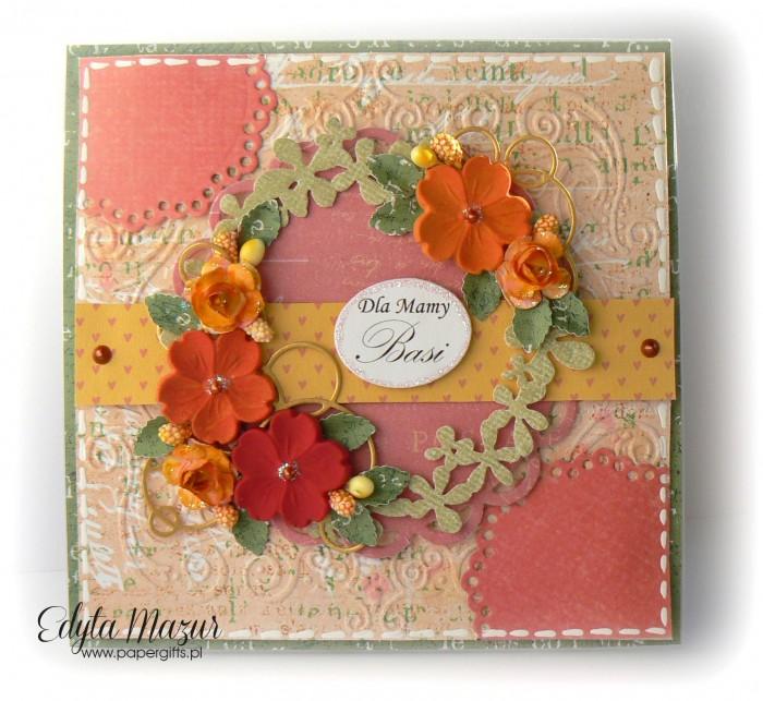 Różowo-pomarańczowa - kartka z okazji Dnia Mamy