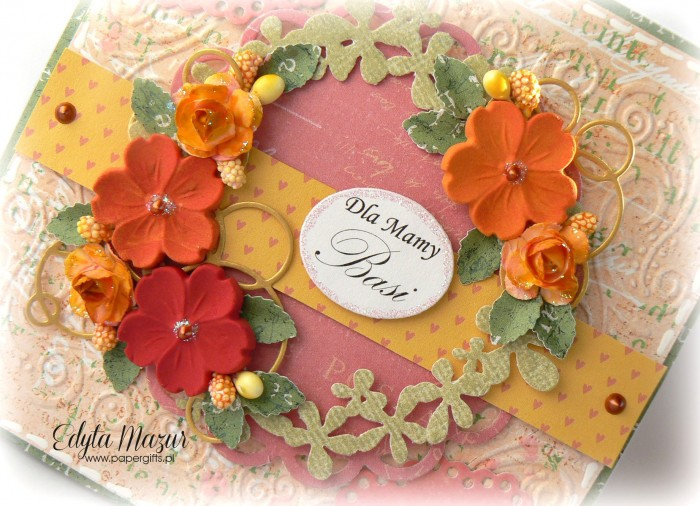 Różowo-pomarańczowa - kartka z okazji Dnia Mamy1
