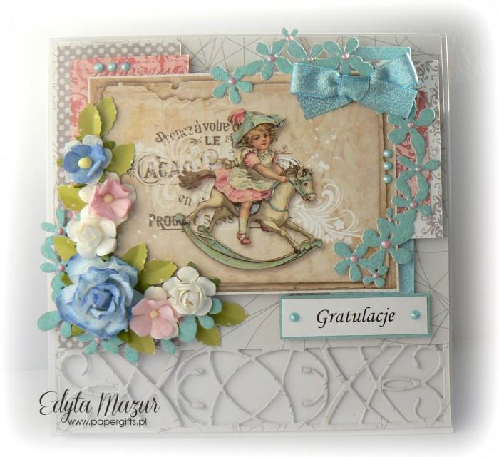 Szaro-błękitna z konikiem i kwiatkami - Gratulacje z okazji narodzin