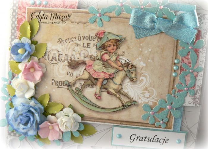 Szaro-błękitna z konikiem i kwiatkami - Gratulacje z okazji narodzin1