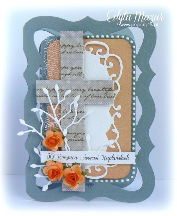 Szaro-pomarańczowa z różami - kartka na rocznicę święceń kapłańskich