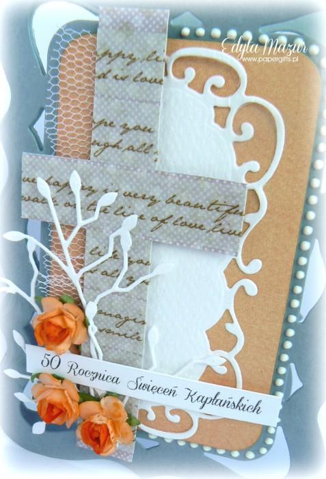 Szaro-pomarańczowa z różami - kartka na rocznicę święceń kapłańskich1