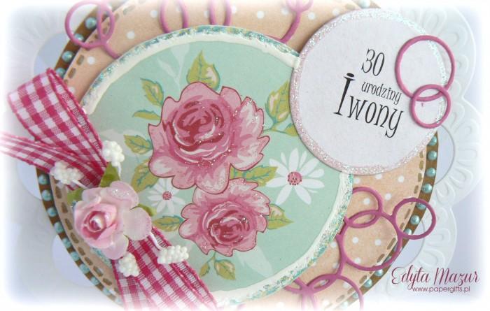 W kółko roże - Kartka na urodziny Iwony1