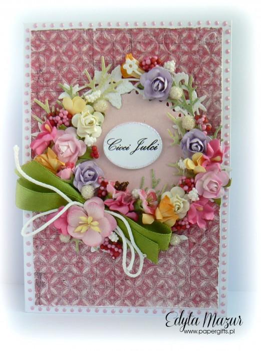Wianek z polnych kwiatów - Kartka z okazji imienin cioci Julci