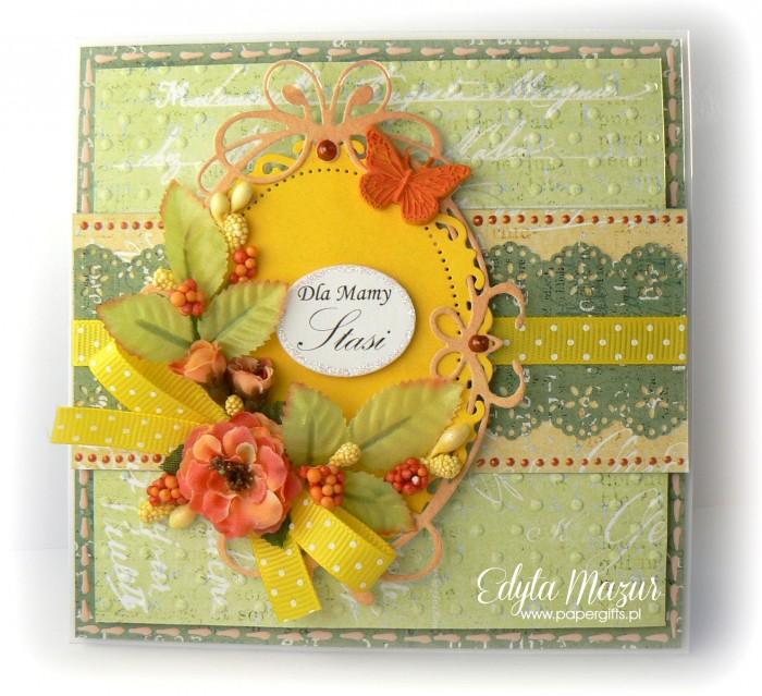 Zielono-herbaciana - kartka z okazji Dnia Mamy