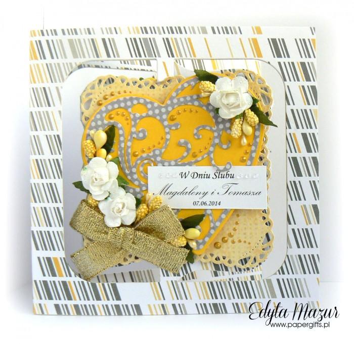 Żółto-szara z sercem - kartka na ślub