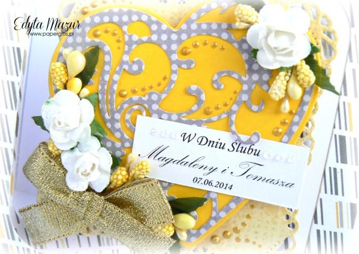Żółto-szara z sercem - kartka na ślub1
