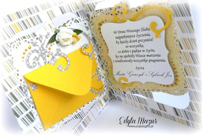 Żółto-szara z sercem - kartka na ślub2