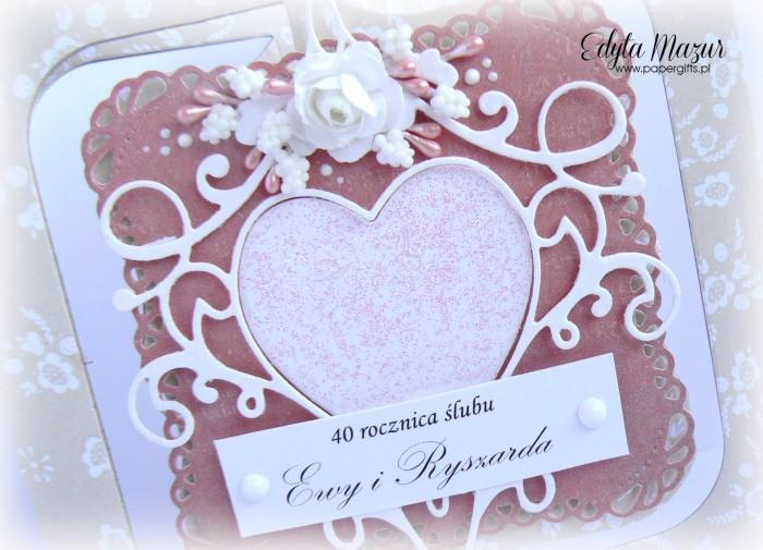 Beżowo-różowa z sercem - kartka na ślub1