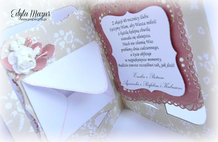 Beżowo-różowa z sercem - kartka na ślub2