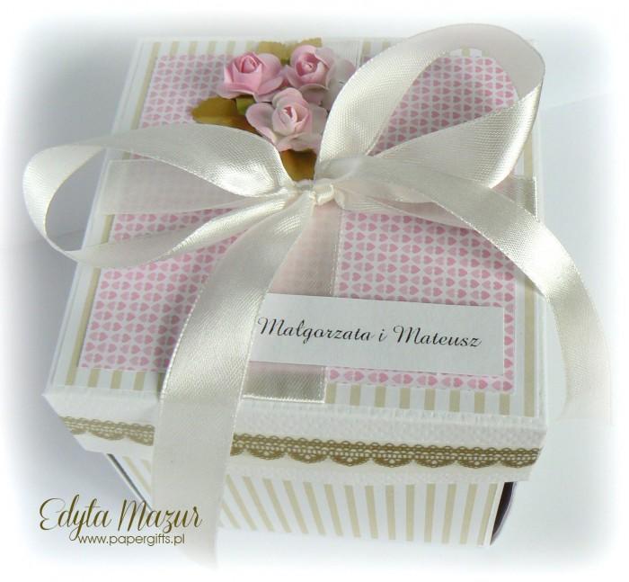 Różano-złoty box ślubny dla Małgorzaty i Mateusza