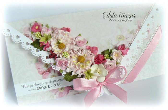 Szaro-różana kartka ślubna - kopertówka