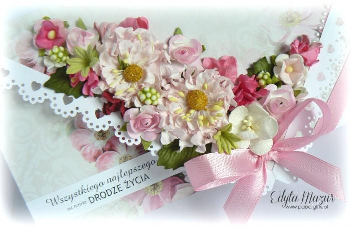 Szaro-różana kartka ślubna - kopertówka1