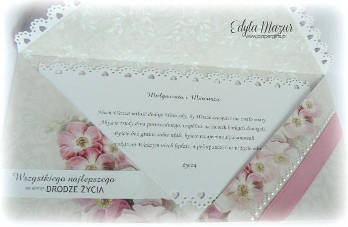 Szaro-różana kartka ślubna - kopertówka2