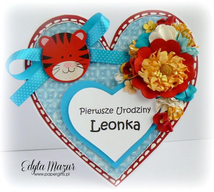 Tygrysek w serduszku - kartka z okazji 1 urodzin Leonka