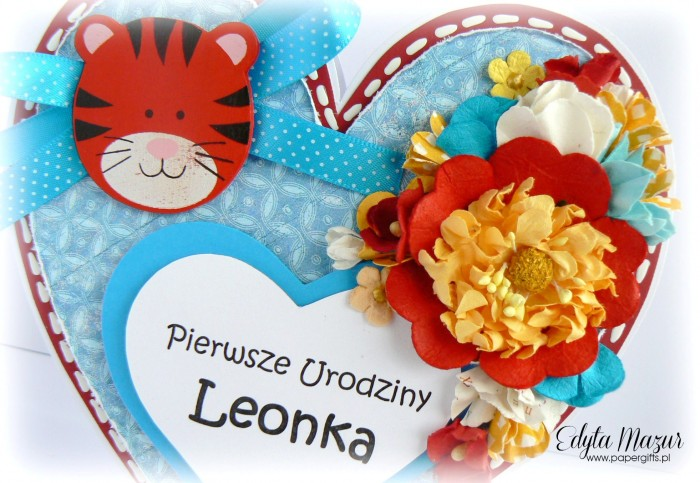 Tygrysek w serduszku - kartka z okazji 1 urodzin Leonka1