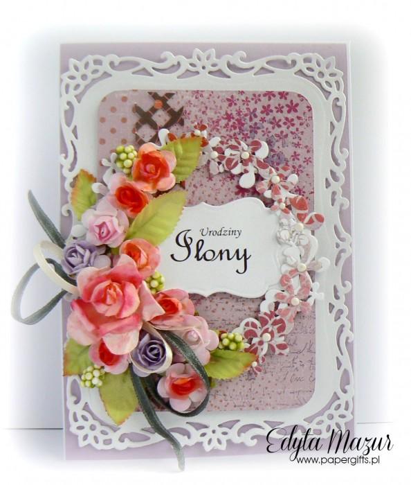 Wrzosowa z bukietem kwiatów - kartka okolicznościowa