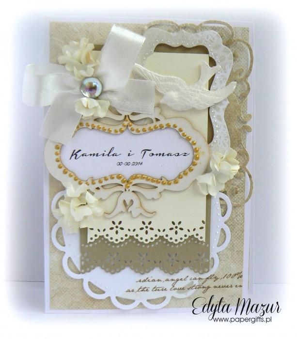 Biało-złota z ptaszkiem - kartka ślubna - składak dla Kamili i Tomasza
