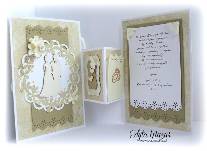 Biało-złota z ptaszkiem - kartka ślubna - składak dla Kamili i Tomasza2