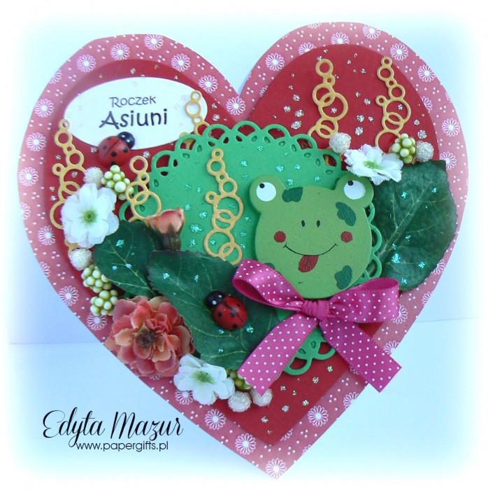 Czerwone serce z żabką - kartka na urodziny Asi