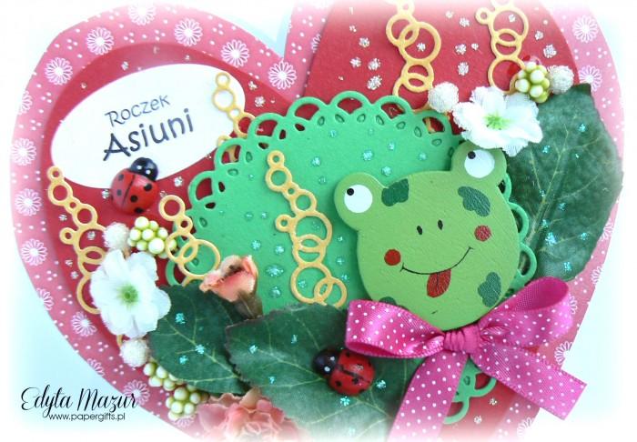 Czerwone serce z żabką - kartka na urodziny Asi1