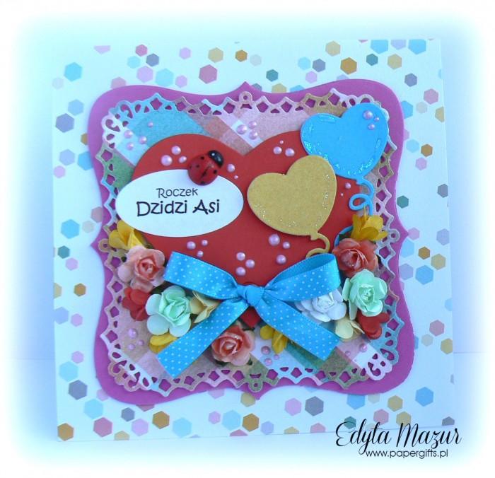 Czerwone serce z balonikami - kartka na urodziny Asi