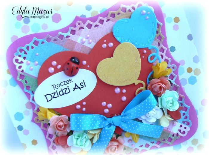 Czerwone serce z balonikami - kartka na urodziny Asi1
