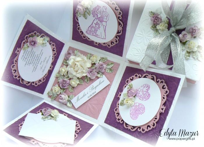 Fioletowo-różowy box ślubny dla Moniki i Bogusława1