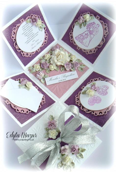 Fioletowo-różowy box ślubny dla Moniki i Bogusława2