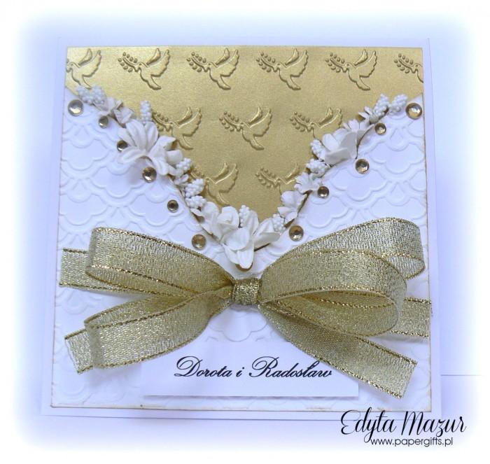 Gorset biało-złoty - kartka ślubna dla Doroty i Radka