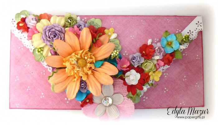 Kolorowy bukiet - kopertówka na urodziny babci