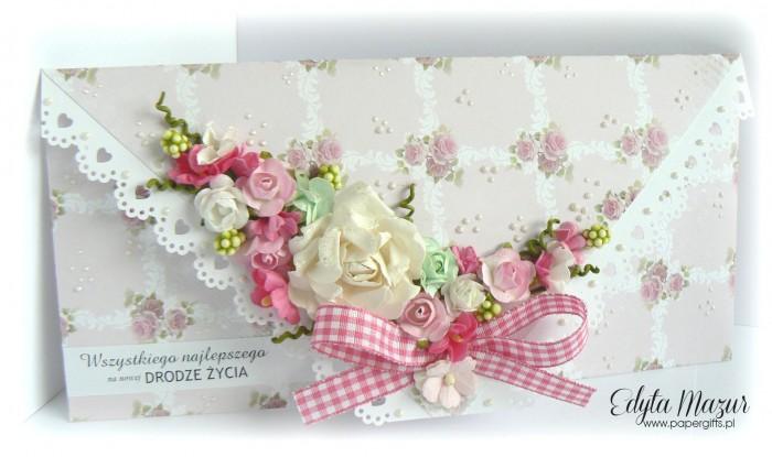 Kopertówka ślubna w róże
