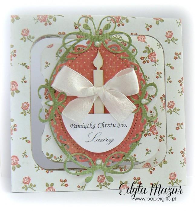 Mnóstwo różyczek - kartka na chrzest Laury