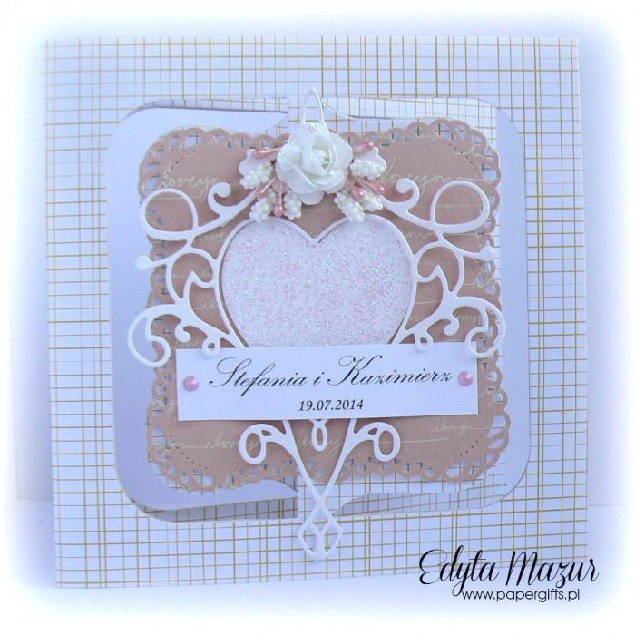 Różowa z sercem - kartka ślubna dla Stefanii i Kaziemierza