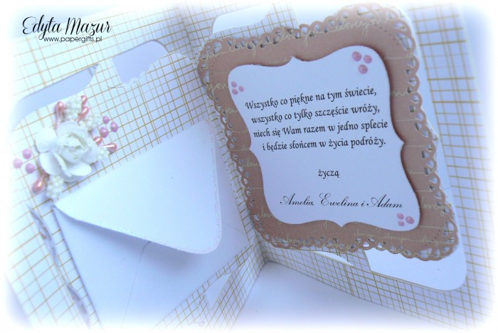 Różowa z sercem - kartka ślubna dla Stefanii i Kaziemierza1