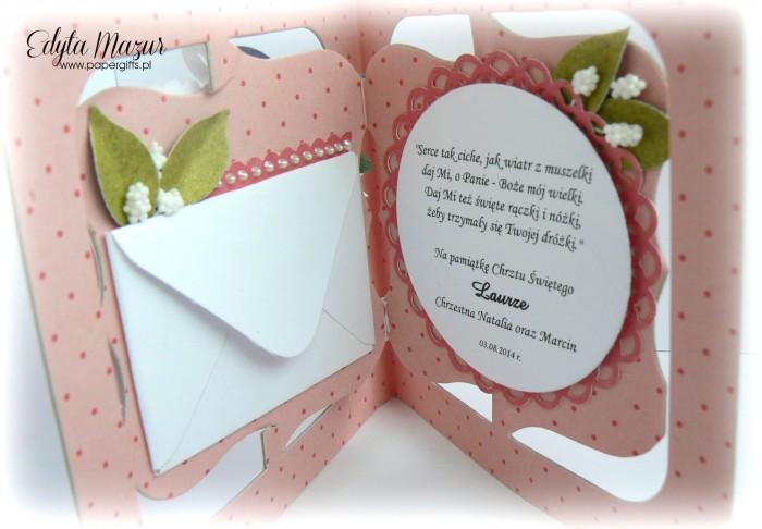 Różowe serce z bucikami  Pamiątka Chrztu Laury1