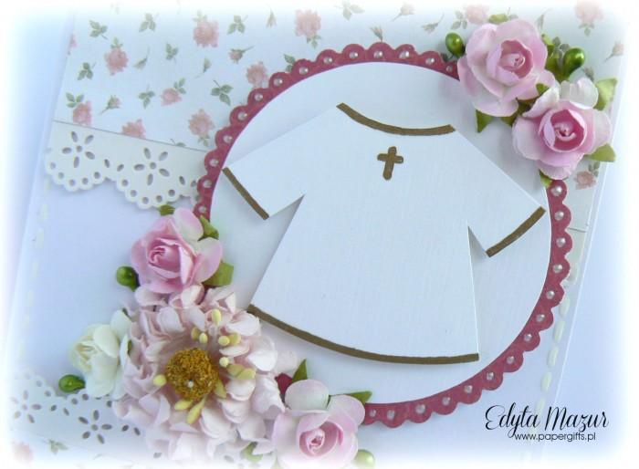 Różyczki z szatą - kartka na chrzest Natalki1