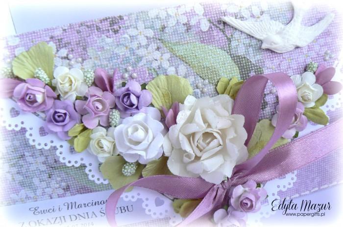 Wrzosowa kopertówka ślubna z gołąbkiem dla Ewy i Marcina1