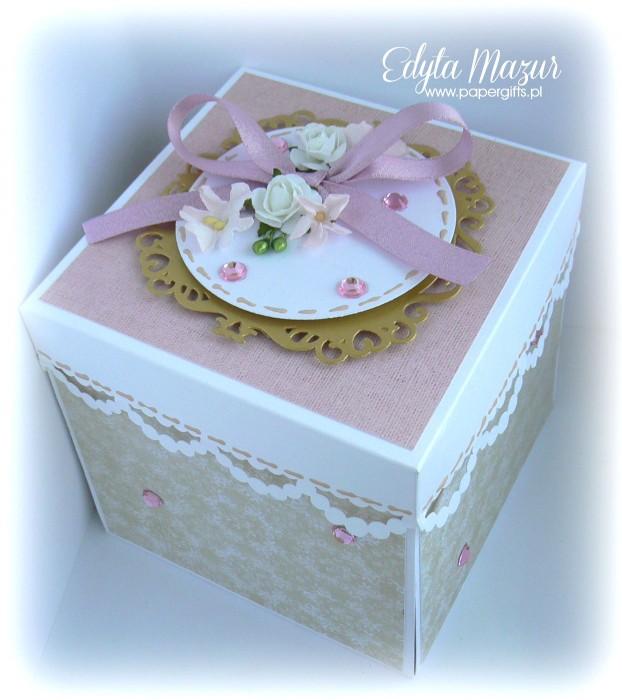 Beżowo-różowo- złoty box śluny dla Joanny i Sebastiana