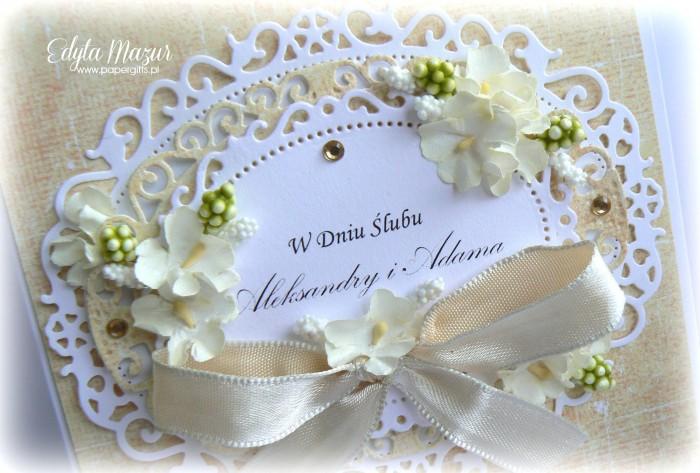 Biało-żółta kartka na ślub Aleksandry i Adama1